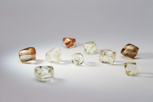 Some of the diamonds I found whilst dredging in the Ekereku River Guyana