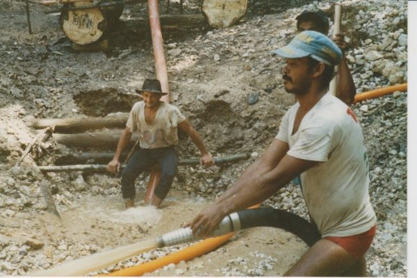 Brazilian garimpeiros (artisanal miners) working gold placer deposits at Mahdia in Guyana.