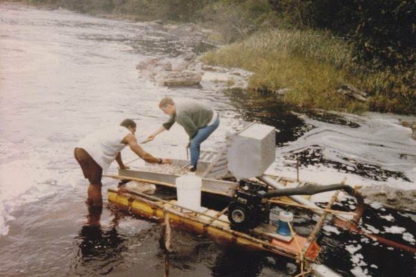 Me and my dredge at Pothole Falls, Ekereku River, Guyana.