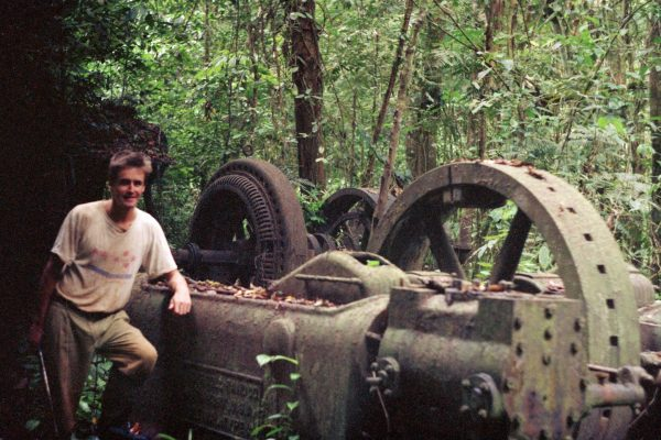 Old mining machinery lost in the jungle at Aremu in Guyana, South America.