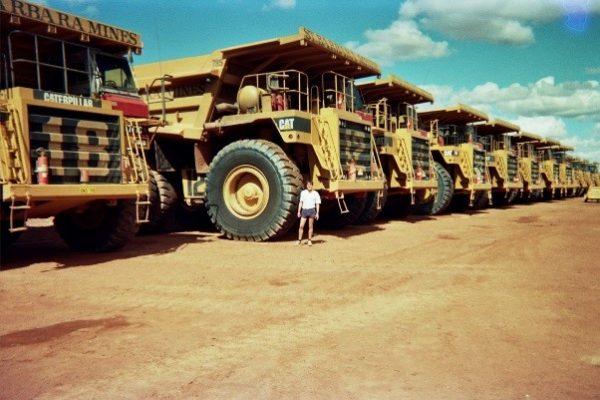Meekatharra, Western Australia. Dwarfed by the minesite's 120 tonne haulpacks.